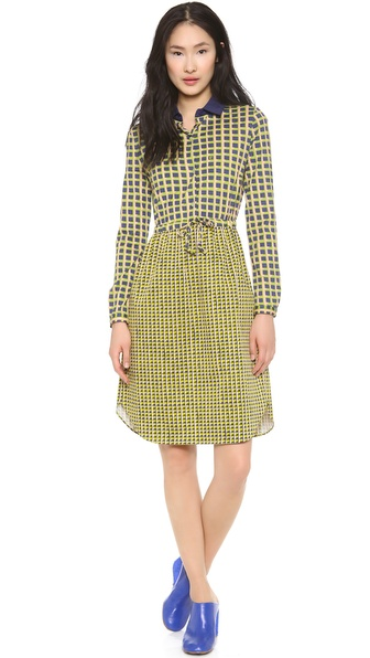 Carven Printed Long Sleeve Dress