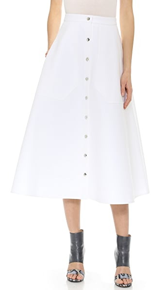 Carven A Line Button Skirt