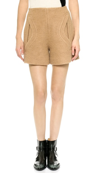 Carven Crushed Wool Shorts