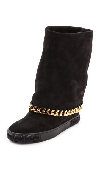 Casadei Hidden Wedge Fold Over Boots