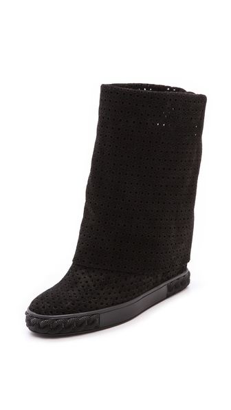 Casadei Perforated Suede Boots - Black at Shopbop / East Dane