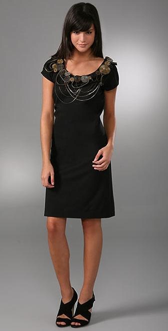 Catherine Malandrino Cap Sleeve Shift Dress with Antique Neckline