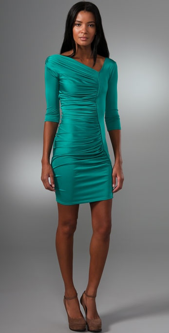 Catherine Malandrino Asymmetrical Ruching Dress
