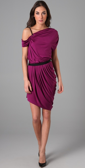 Catherine Malandrino One Shoulder Dress with Leather Straps