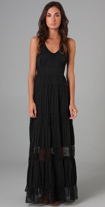 Catherine Malandrino Maxi Dress with Lace Panels