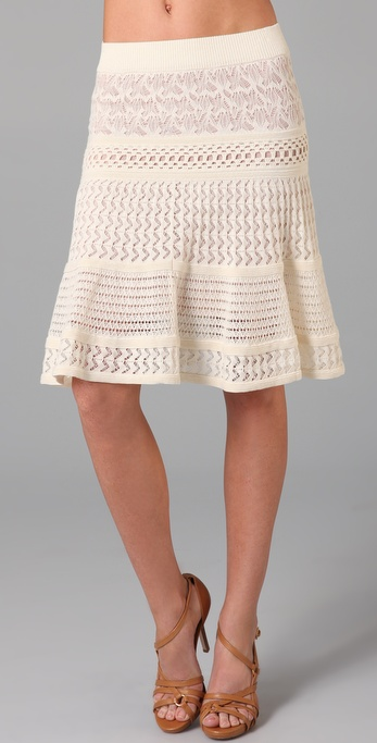 Catherine Malandrino Mixed Pointelle Skirt