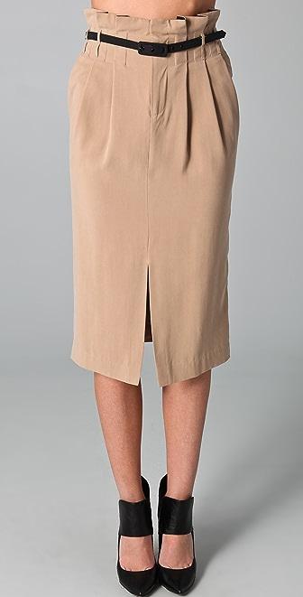 Catherine Malandrino Belted Pencil Skirt