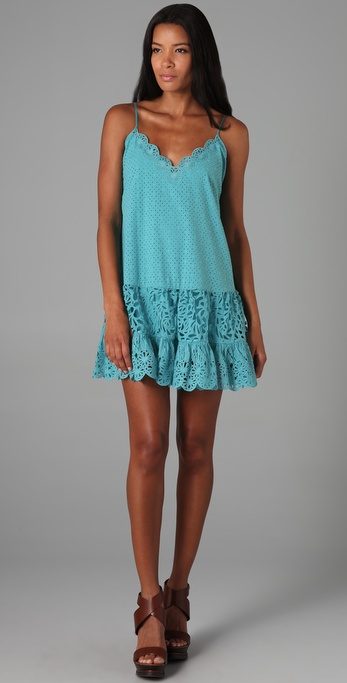 Catherine Malandrino V Neck Eyelet Dress