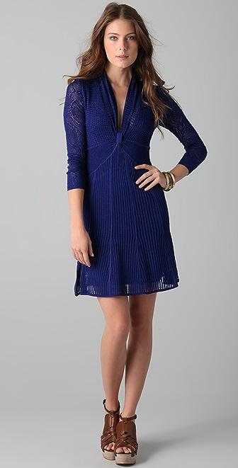 Catherine Malandrino V Neck Dress with Sheer Sleeves