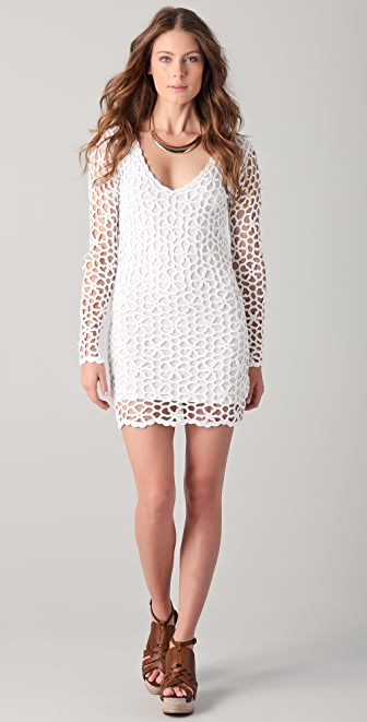 Catherine Malandrino Long Sleeve Crochet Dress