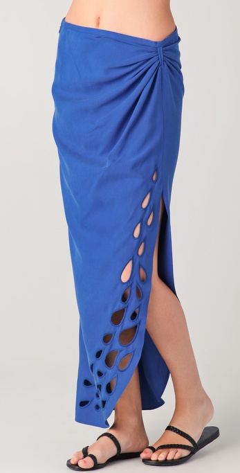 Catherine Malandrino Wrap Maxi Skirt with Cutout