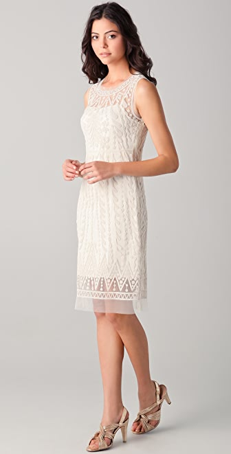 Catherine Malandrino Embroidered Mesh Tank Dress