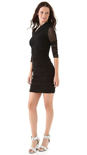 Catherine Malandrino Slit Neck Shirred Dress