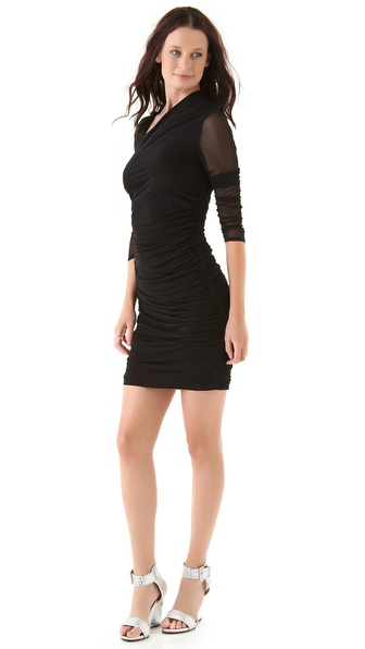 Catherine Malandrino Slit Neck Shirred Dress