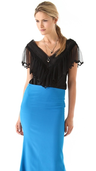 Catherine Malandrino V Neck Chiffon Top