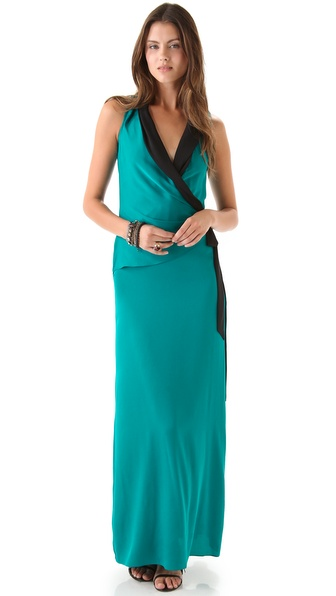 Catherine Malandrino Wrap Tie Gown