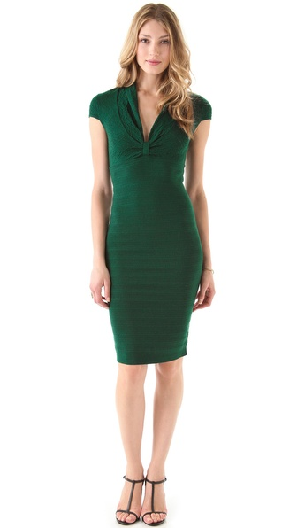 Catherine Malandrino Deep V Pointelle Dress