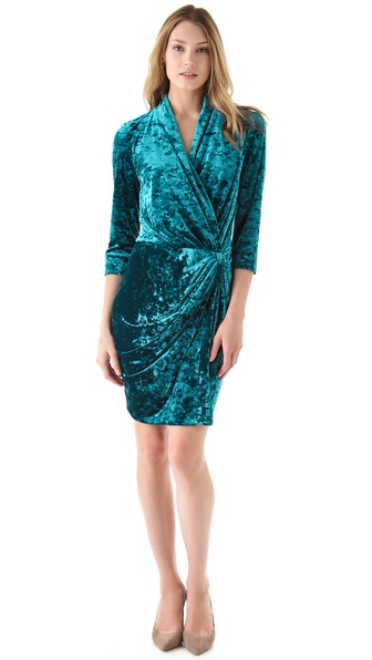 Catherine Malandrino Crushed Velvet Wrap Dress