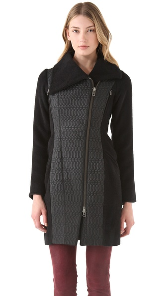 Catherine Malandrino Car Coat with Zippers