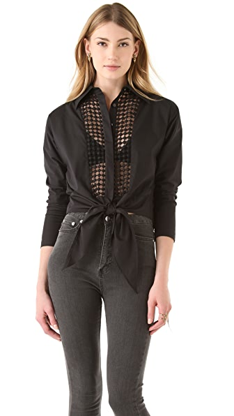 Catherine Malandrino Button Down Tie Blouse