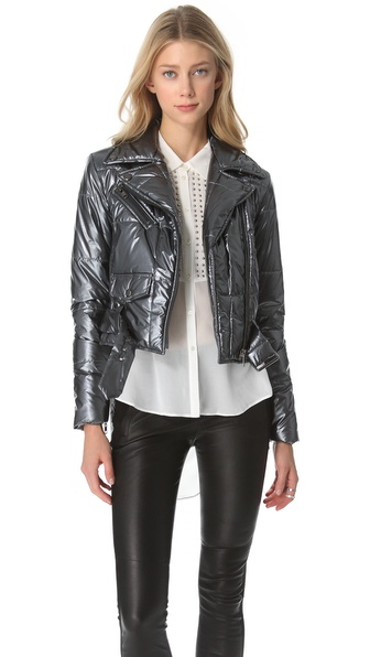 Catherine Malandrino Metallic Moto Jacket