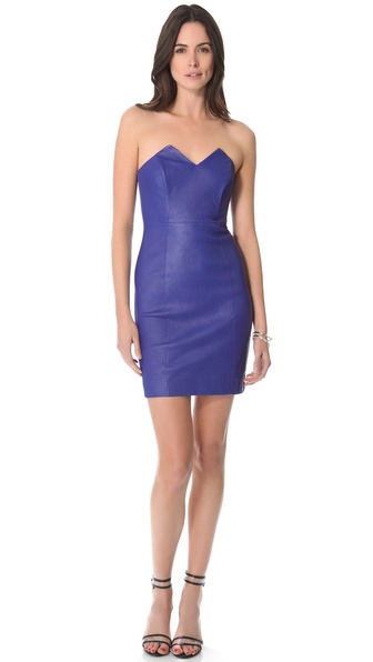 Catherine Malandrino Leather Combo Strapless Dress