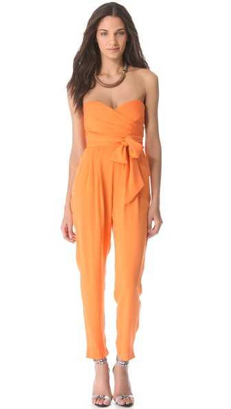 Catherine Malandrino Strapless Silk Jumpsuit