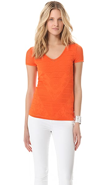 Catherine Malandrino V Neck Pointelle Top