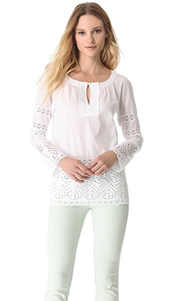 Catherine Malandrino V Neck Embroidered Blouse