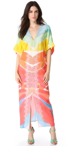 Catherine Malandrino Embroidered Caftan Dress