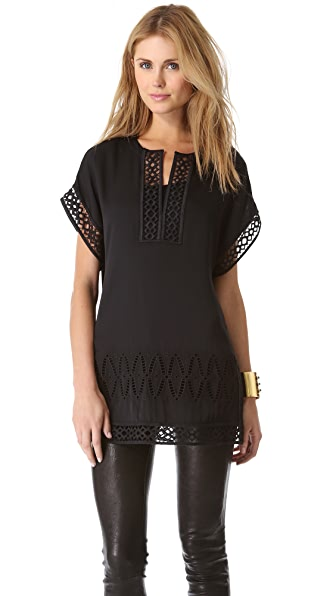 Catherine Malandrino Gigi Embroidered Cutout Dress
