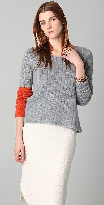 Chris Benz Hand Knit Cashmere Crew Neck Deck Sweater