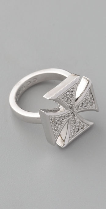 CC SKYE Pave Iron Cross Ring