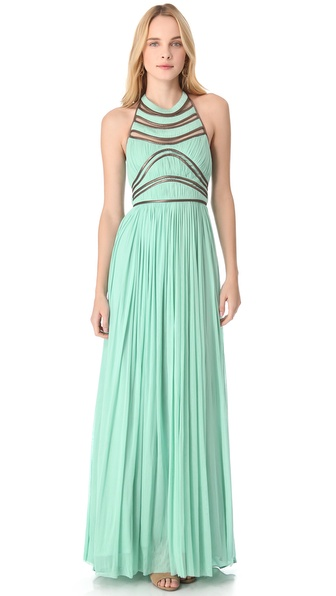 Catherine Deane Nicolette Leather Trim Gown