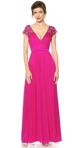 Catherine Deane Vitalia Open Back Cap Sleeve Gown