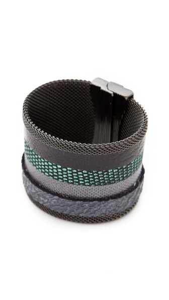 Cynthia Desser Stripe Reversible Wide Cuff