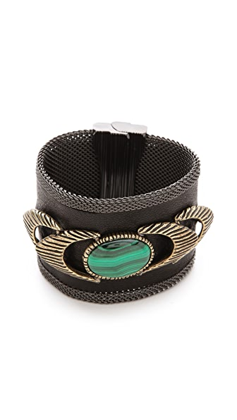 Cynthia Desser Wide Leather & Malachite Cuff