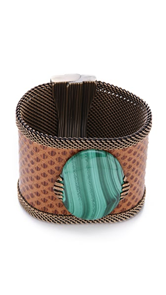 Cynthia Desser Wide Leather & Malachite Cuff
