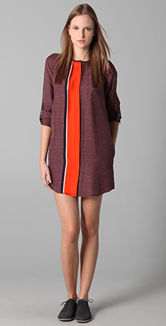 Derek Lam 10 Crosby Collarless Print Shirtdress