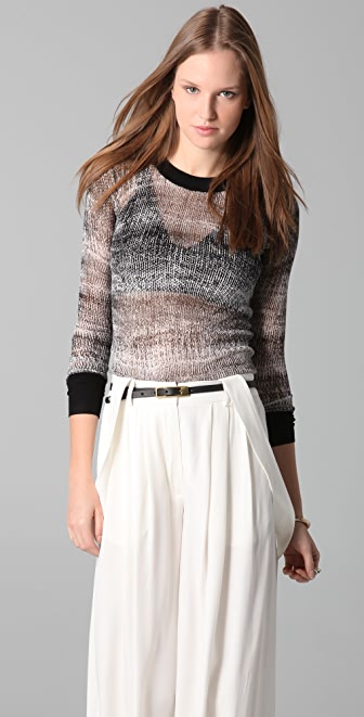 Derek Lam 10 Crosby Crew Neck Print Sweater