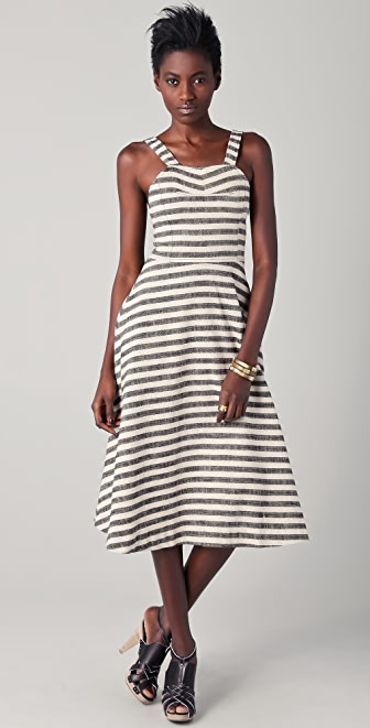 Derek Lam 10 Crosby Striped Midi Circle Dress