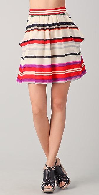 Derek Lam 10 Crosby Striped Flounce Skirt