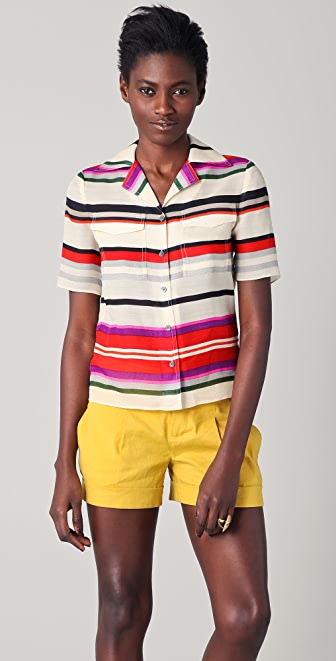 Derek Lam 10 Crosby Striped Camp Shirt
