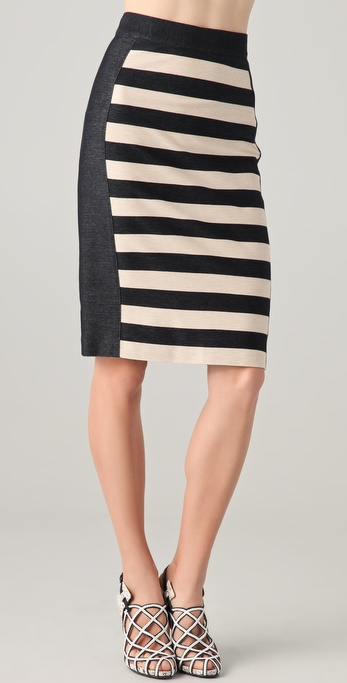 10 Crosby Derek Lam Striped Pencil Skirt