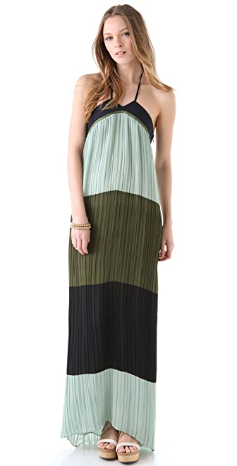 Derek Lam 10 Crosby Colorblock Halter Maxi Dress