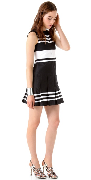 10 Crosby Derek Lam Sleeveless Dress with Pleated Skirt
