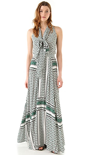 Derek Lam 10 Crosby Scarf Print Maxi Dress with Neck Tie