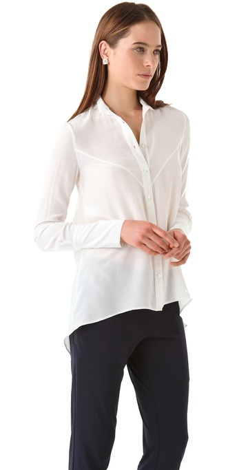 10 Crosby Derek Lam Button Down Shirttail Blouse