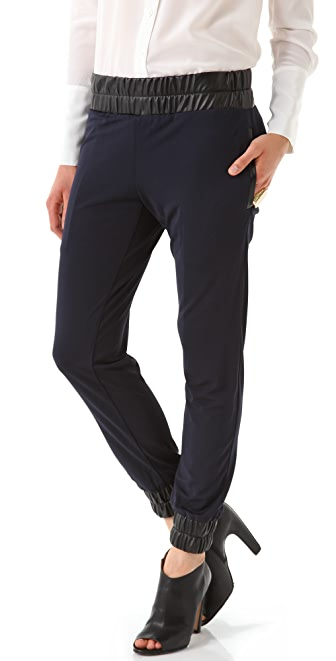 Derek Lam 10 Crosby Relaxed Pants with Faux Leather Trim