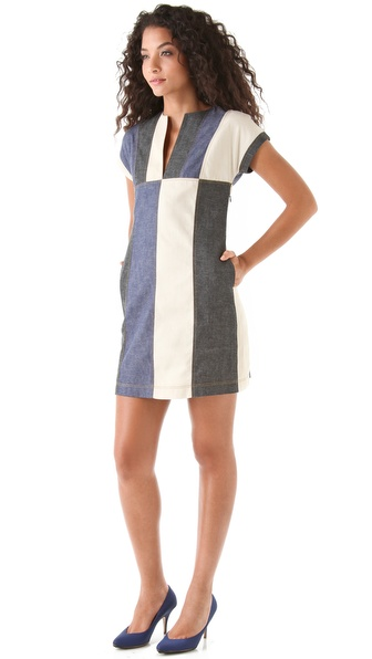 10 Crosby Derek Lam Western Denim Colorblock Dress